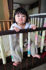 Wacky Face!!! (^0^) ( Spice (^_^)) Tags: portrait baby color cute feet home girl face japan female canon mouth hair geotagged asian nose japanese march eyes infant asia hand crib  bata tao  halfjapanese anak loveofmylife  babae mixedrace hija        babybed      sanggol  cutelittlegirl 2013        rheinauratsuji