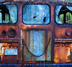 Back Of The Bus (davidwilliamreed) Tags: old school bus abandoned metal rust decay grunge neglected rusty forgotten weathered crusty patina bartowcounty oldcarcity whitega
