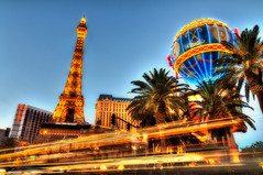 Paris Hotel Las Vegas  Light Trails on the Strip (Sprengben [why not get a friend]) Tags: california city travel party summer urban usa newyork paris art america skyscraper observation sundown artistic time lasvegas grandcanyon nevada watch eiffeltower chapel casino symmetry hangover divine international strip alcohol mirage mathematics metropolis deathvalley caesarspalace bluehour donaldtrump foreign luxor gamble luxury hdr sincity linear fremontstreetexperience hardrockcaf travelphotography d90 photomatix thebellagio gogogirl worldseriesofpoker d700 oceanseleven rioallsuitehotel madalabay welcometofabulouslasvegas