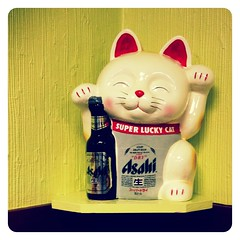Lucky. (infa_reds) Tags: california art cat sushi photography japanese march losangeles spring asahi weekend santamonica sunday perspective kitty socal lucky 365 pictureoftheday goodluck iphone luckycat picoftheday springforward goodfortune 2013 uploaded:by=flickrmobile flickriosapp:filter=nofilter