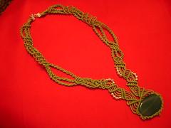Collana verde (Nina_Creation) Tags: stone collier necklace handmade knot bijoux pietre creation collar colar macrame piedra halsband nudos collana hechoamano halskette kaulakoru macram waxedthread hiloencerado  filocerato