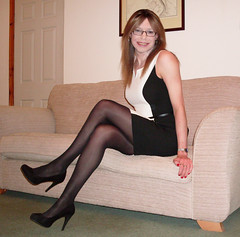 Monochromacy (Starrynowhere) Tags: black glasses dress panel legs emma tights crossdressing hose tgirl tranny transvestite heels opaque various pantyhose crossdresser transvestism