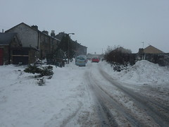 Mill Lane (The Chairman 8) Tags: road houses people mountain snow cars buildings snowing milllane queensbury