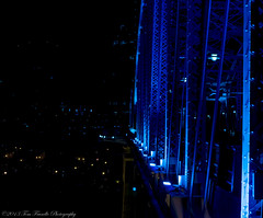 Cold As Ice (Tom Frundle Photography) Tags: city nightphotography bridge blue colors night river lights cool cityscape nashville tennessee nightscene tone downtownnashville 2013 shelbystreetbridge tomfrundlephotography