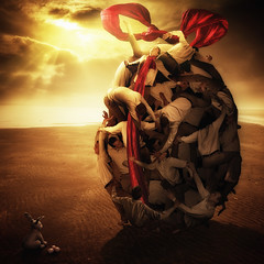 Together (Christophe Kiciak) Tags: orange sun rabbit bunny beach giant easter warm being cluster egg warmth surreal stack story human pile eggs concept conceptual meaning