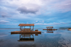 Balsa Blues (arcreyes [-ratamahatta-]) Tags: morning blue sea reflection beach cloudy philippines relaxing floating peaceful balsa batangas stilts calatagan