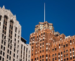 Buhl and Guardian Buildings (mgsmith) Tags: usa building geometric architecture mi skyscraper buildings geotagged design us geometry michigan detroit structure architectural financialdistrict architect artdeco 1929 1924 guardianbuilding buhlbuilding wirtrowland griswoldstreet uniontrust wirtcrowland smithhinchmangrylls detroitarchitecture 2013 michaelgsmith