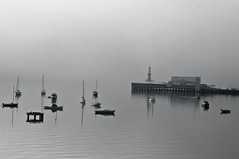 Fog on the Bay (Alain Martineau) Tags: morning sea blackandwhite cloud mer white mist black fog clouds bay australia victoria geelong australie baie corio