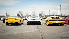 12 Cylinder Line Up (Matthew Britton) Tags: auto red white heritage ford car yellow matt nikon matthew fast images ferrari exotic gto gt mb scuderia britton maranello f430 512 testarossa v12 550 599 d300s