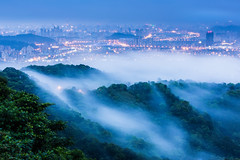 Foggy Hills  (Sharleen Chao) Tags: city sunset urban cloud mist fog night canon landscape spring cityscape nightshot taiwan nopeople taipei bluehour   70200mm   101    lightflares     canoneos5dmarkiii wb6000k20
