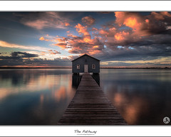 The Pathway (John_Armytage) Tags: sunset reflection clouds swan dusk australia perth wa westernaustralia boatshed matildabay crawleyboatshed johnarmytage wwwjohnarmytagephotographycom