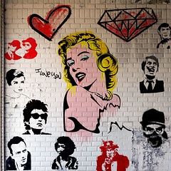 marilyn-04-06 (PASLIER MORGAN) Tags: red streetart dylan art love colors collage wall marilyn rouge army star grafitti you tag culture graph amour hero spock actress iloveyou hendrix mur couleur icone artiste bluesbrother brillant jetaime dutronc diams