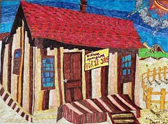 William Spurgeon Horseshoe Shop  Circa 1850 version 1 (iam72hrstv) Tags: county orange history shop pen ink drawing william canvas horseshoe psycadelic 1859 spurgeon