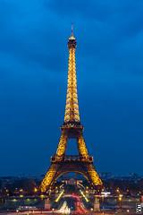 Golden Eiffel (Eduardo Martn) Tags: blue paris tower torre tour eiffel hour edumartinfoto