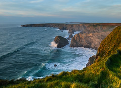 Carnewas (intrazome) Tags: ocean sunset sea cliff nature beautiful digital landscape coast nikon waves cliffs coastline d5100