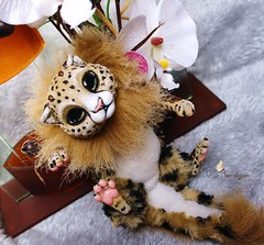 Poseable Art Doll Savannah (Chinatsu_1) Tags: cute cat plush fantasy tiny savannah artdoll plsch dragonspirit poseable kawii