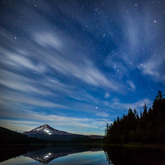 Trillium Lake Clouded Night Sky (Alene Davis) Tags: mthoodnationalforest mthood mountain sky stars nightsky nightphotography cloudy reflection blue bluesky trilliumlake