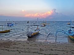 Bali - Sanur Sunset (zorro1945) Tags: bali indonesia asia sanur sanurbeach beach sand sea clouds sunlitclouds eveninglight sunset sundown gloaming nightfall boats outriggers eveningsky