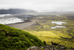 Icelandic Landscape (arsamie) Tags: iceland landscape plain pond lagoon fjallsarlon green foam brown white water lake ice cube iceberg glacier snow cloud dunes sand black rocks river stream legend elf dwarf myth nothern viking