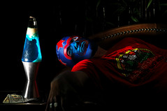 The Melancholy of Fame (Studio d'Xavier) Tags: themaskedsuperstar fame melancholy blue lavalamp luchador luchalibre 365 august212016 234366 strobist lamp