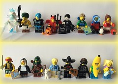 71013 Minifigures Series 16 (Be) Tags: babysitter bananaguy spy mariachi dogshowwinner rogue penguinboy scallywagpirate kickboxer wildlifephotographer hiker spookyboy cutelittledevil cyborg desertwarrior icequeen numbers116 series16 collectibleminifigures