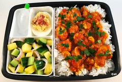 Curried Coconut Chicken Bento (Cathryn3) Tags: lunch bento coconut curry chicken rice deviledegg honey bacon sriracha pineapple cucumber shallot