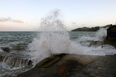 Impassable! (Cumberland Patriot) Tags: dawlish sea wall high tide big waves spray seaspray dusk wave water ocean