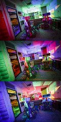 RGB Interior Triptych (Notley) Tags: missouri notley notleyhawkins 10thavenue httpwwwnotleyhawkinscom missouriphotography notleyhawkinsphotography ruralphotography light lightpainting greenlight green night nocturne midwest ruralusa evening columbiamissouri blue bluelight red redlight rgblightpainting boonecountymo boonecounty abandoned gasstation oldgasstation gaspumps pumps shadows window triptych