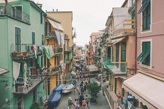 Locals used to call this village Manaa..  (albertpaci) Tags: manarola old town city cinqueterre italy vintage retro buildings architecture history sky people day balcony road boats sea colors houses mediterranean italia liguria travel world village view