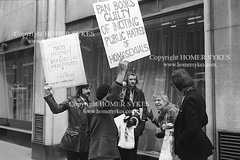 GAY RIGHTS DEMO PROTEST LONDON 1970s (Homer Sykes) Tags: gayrights gay london protesting protester demonstration demo demonstrate archivestock 1970s 70s 1971 gayliberationfront uk british english england britaingaycommunity gbr