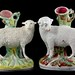 136. Near Pair of Staffordshire Sheep Spill Vases