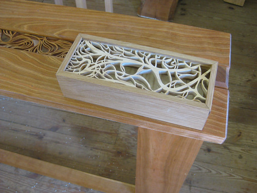 Michaela Stone pierced box and edge of table