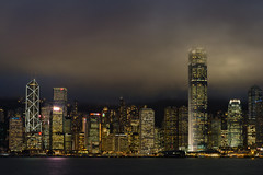 Fogged [Explored] (boingyman.) Tags: travel urban hk fog skyline night canon buildings hongkong cityscape victoriaharbour 35l t2i boingyman