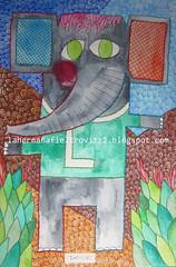 l-fante (lahermanafieltrovitz) Tags: portrait elephant green art colors animal illustration ink watercolor painting children spain artist nios painter l stitching doodles modernismo ele ilustracion elefante ilustracin bordado