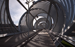 DNA bridge (droplingur) Tags: madrid bridge architecture spain pedestrianbridge dominiqueperrault arganzuela 2013