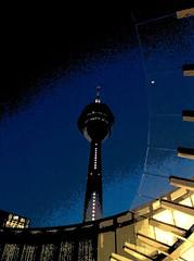 Rheinturm IV (jan.stoefer) Tags: licht architektur dsseldorf serie glas beton dunkelheit iphone objekt drausen variiert