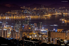 Hong Kong Night View :: Kowloon Peak (), Hong Kong (hk_bellchan) Tags: city sunset urban hk moon night stars landscape hongkong lights town neon peak victoria moonrise neonlights     magichour  victoriahabour afterglow cityview         choihung  kowloonpeak  feingomountain
