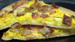 Breakfast pizza (Coyoty) Tags: food college yellow cheese breakfast bacon cafe connecticut sausage ct ham meat pizza onions eggs cheddar farmington cornercafe tunxiscommunitycollege