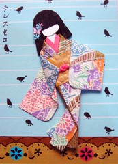ATC1139 - Birds around me 5 (tengds) Tags: pink blue birds atc cream geisha kimono obi papercraft japanesepaper washi ningyo handmadecard japanesedesign chiyogami yuzenwashi japanesepaperdoll paperscrap origamidoll nailartsticker tengds