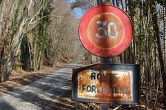 Pas plus que 30!!! (the yellowrider) Tags: road trees france nature route alsace arbre fort panneaux rouille nikon1855mm nikond40 panneausignalisation routeforestire saintjeansaverne formatpaysage golocalis