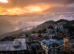 City Above The Clouds, Darjeeling (shadow1621) Tags: city sunset india mountain clouds glow dramatic darjeeling
