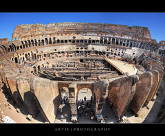 The Interior of the Colosseum in Rome, Italy :: HDR (Artie | Photography :: I'm a lazy boy :)) Tags: italy rome architecture photoshop canon ancient roman forum amphitheatre engineering medieval structure fisheye colosseum empire imperial coliseum iconic 15mm f28 ef hdr artie cs3 flavianamphitheatre 3xp photomatix tonemapping tonemap 5dmarkii 5dm2