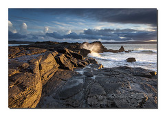 Sunlit rocks (Simon Bone Photography) Tags: sea seascape beach coast sand rocks cornwall shoreline wideangle cliffs coastal coastline splash goldenhour godrevy yellowlight goldenlight beachscape sunlitrocks canonef1740mmlf4 canoneos5dmkii wwwsimonbonephotographycouk