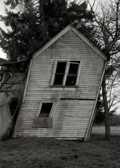 Abandoned Farmhouse, Forest Grove (austin granger) Tags: abandoned film field oregon time geometry decay farm ruin bow memory impermanence slats weathered leaning sway largeformat forestgrove deardorff austingranger