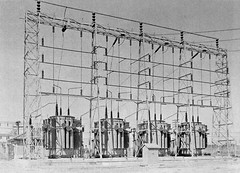 Four Transformers (en tee gee) Tags: california old wires transformers substation insulators 115kv 69kv