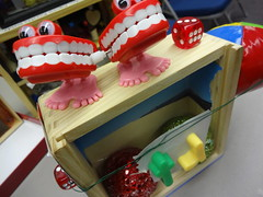 Nervous smile. Cornell Box by T. (pink Amanda) Tags: wood dice smile eyes box teeth dive plastic artists cornell boxes create shadowbox arrange collge