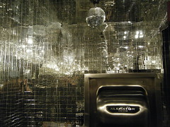 DSCF3933 (srhbth) Tags: city newyorkcity urban newyork reflection silver tile bathroom mirror mosaic restroom unusual mirrorball discoball dryer xlerator donutplant