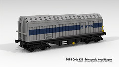 TOPS Code KIB - Telescopic Hood Wagon (Pickyourownbogie) Tags: wagon lego render trains container railways freight snowblower povray moc rollingstock ldd intermodal railfreight legodigitaldesigner shimmns steelcoil lddtopovray
