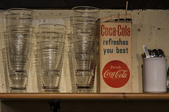 Vintage Coke (rogeriobromfman) Tags: liverpool vintage glasses coke shelf mug beatles cocacola sixties beatlesstory