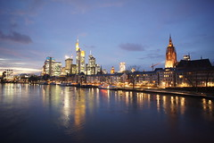 Frankfurt am Main Night Skyline (barnyz) Tags: city urban reflection building tower skyline architecture night skyscraper river germany lights am cityscape cathedral frankfurt sony main gothic bank medieval cranes 16mm frankfurtammain commerzbank hesse eurotower nex3